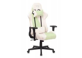 Кресло игровое Бюрократ VIKING X Fabric белый/зеленый с подголов. крестовина пластик