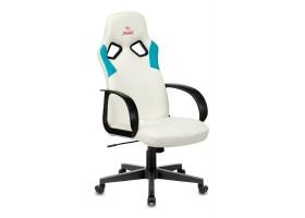 Кресло игровое Бюрократ ZOMBIE RUNNER белый/голубой искусственная кожа крестовина пластик