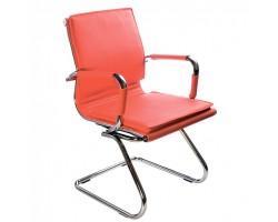 Кресло Бюрократ Ch-993-Low-V красный искусственная кожа низк.спин. полозья металл хром