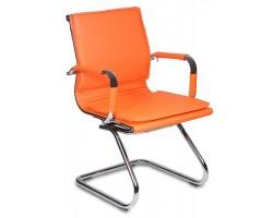 Кресло Бюрократ CH-993-Low-V оранжевый искусственная кожа низк.спин. полозья металл хром