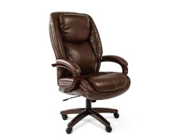Кресло для руководителя CHAIRMAN 408, коричневая кожа